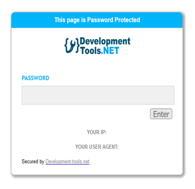 Development Tools webpage password protection tool